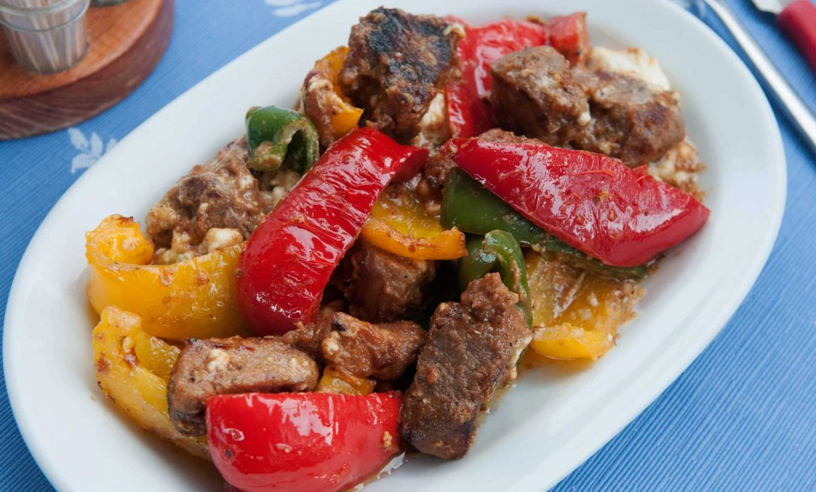 Pork with Peppers, Feta and Honey
